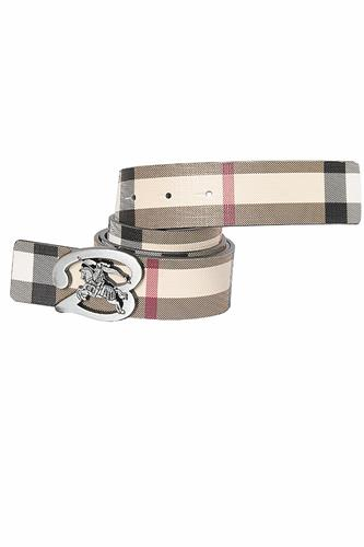 BURBERRY men's reversible leather belt with silver buckle 76
