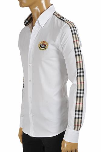BURBERRY men's long sleeve dress shirt with logo embroidery 256