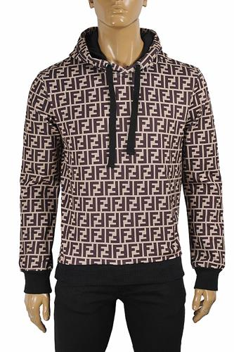 FENDI FF men's cotton hoodie with print logo 55
