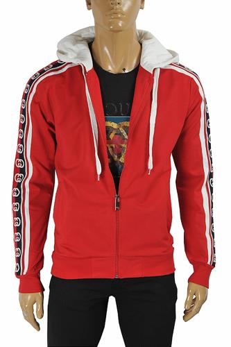 GUCCI men's cotton hoodie with signature stripes 180