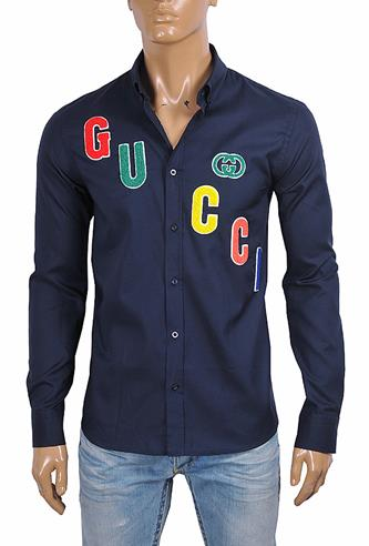 GUCCI men's dress shirt with front appliqué 418