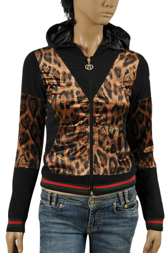 GUCCI Ladies' Zip Up Cotton Hoodie #137