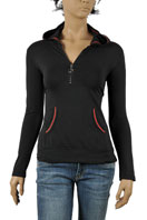 GUCCI Ladies Zip Up Cotton Hoodie #96