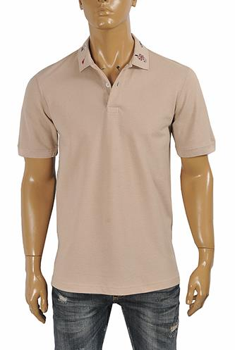 GUCCI Men's cotton polo with Kingsnake embroidery 405