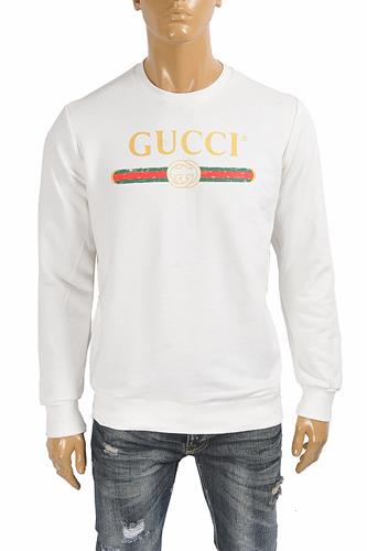 GUCCI Men's cotton sweatshirt with logo front print 110