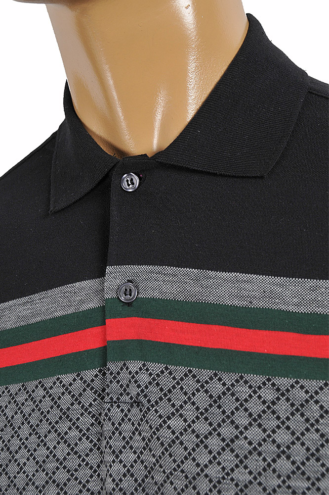 Mens Designer Clothes | GUCCI men's cotton polo with signature red and green stripe 404