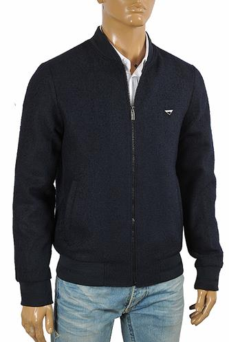 PRADA men's bomber knitted jacket in navy blue 42