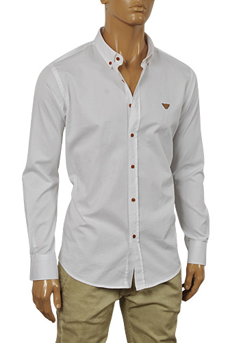 ARMANI JEANS Men's Button Up Dress Shirt In White #232