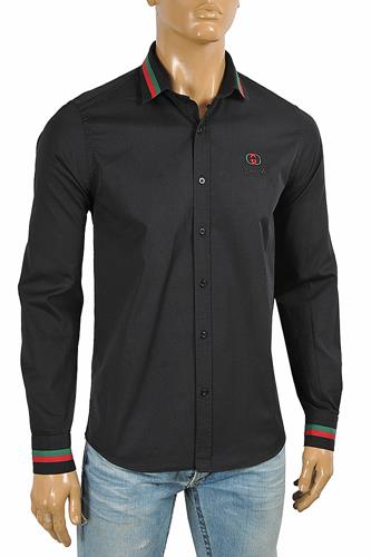 GUCCI men's dress shirt embroidered with logo 398