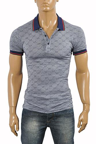 GUCCI Men's cotton polo with stripe #367
