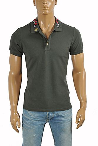 GUCCI Men's cotton polo with Kingsnake embroidery #376