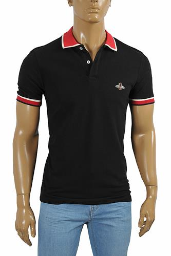 GUCCI Men's cotton polo with Bee embroidery appliqué 389