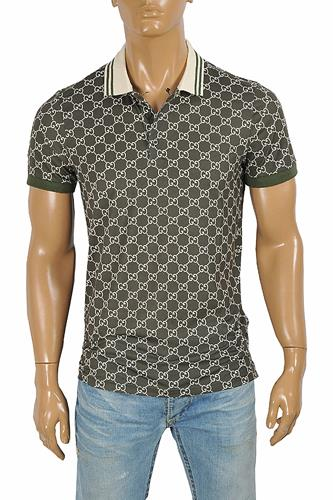 GUCCI men's cotton polo with signature interlocking GG logo desi