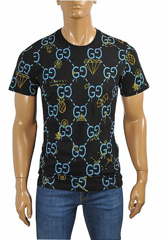 GUCCI cotton T-shirt with GG print in navy blue #242