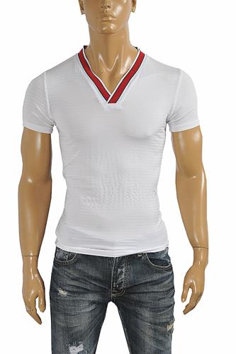 GUCCI cotton V-neck T-shirt collar embroidery #251