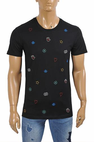 GUCCI cotton t-shirt with symbols embroidery 301