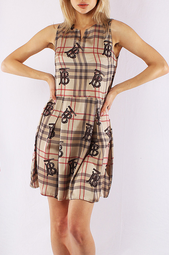 Womens Designer Clothes | BURBERRY Sleeveless Monogram Midi Dress 291