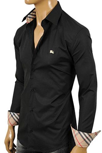 Mens Designer Clothes Burberry Men S Button Up Dress Shirt In Black 134