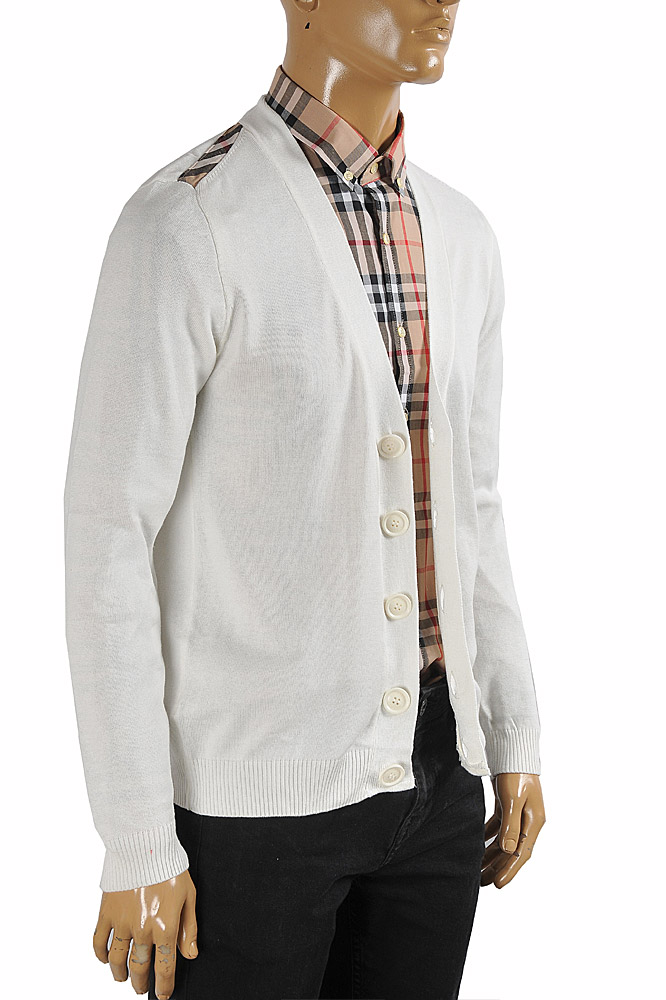 Mens Designer Clothes | BURBERRY men cardigan button down sweater in white color 266