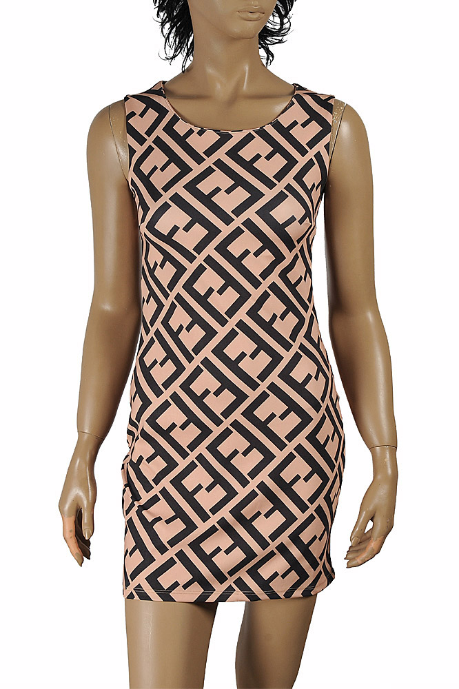 Womens Designer Clothes | FENDI sleeveless dress with logo print 29
