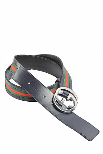 Mens Designer Clothes | GUCCI Men's Leather Belt With Red And Green Stripe 54