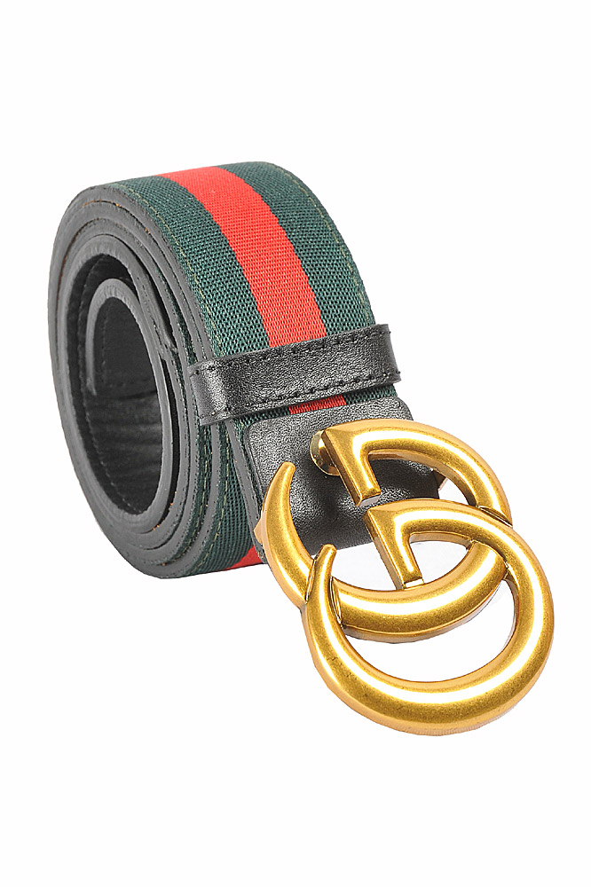 Mens Designer Clothes | GUCCI Double G Buckle Belt With Red And Green Stripe 57