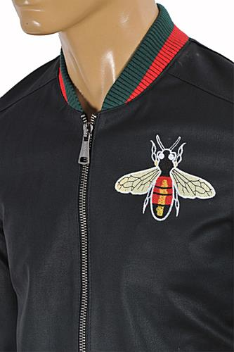 mens designer clothes gucci faux leather jacket with bee patch 154