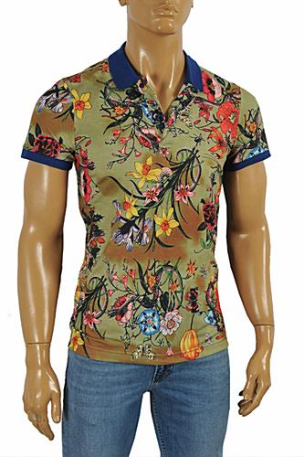 Mens Designer Clothes | GUCCI Men's Flora Snake print polo shirt #381