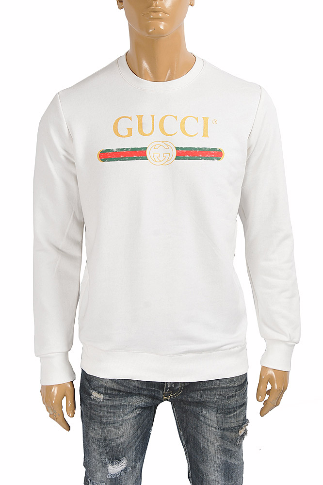 Mens Designer Clothes | GUCCI Men's cotton sweatshirt with logo front print 110