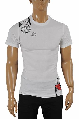 PRADA Men's cotton T-shirt with print in white 107