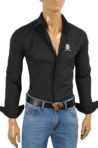 VERSACE Men's Dress Shirt In Black With Embroidery 183